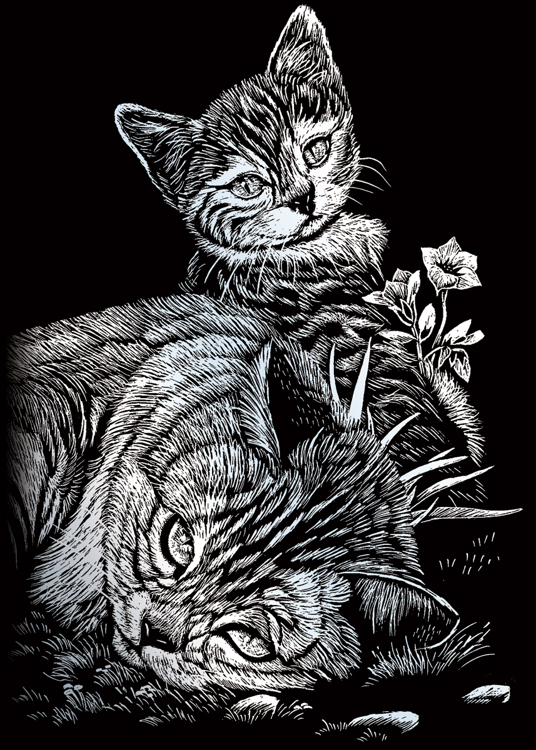 TABBY CAT & KITTEN SILVER MINI