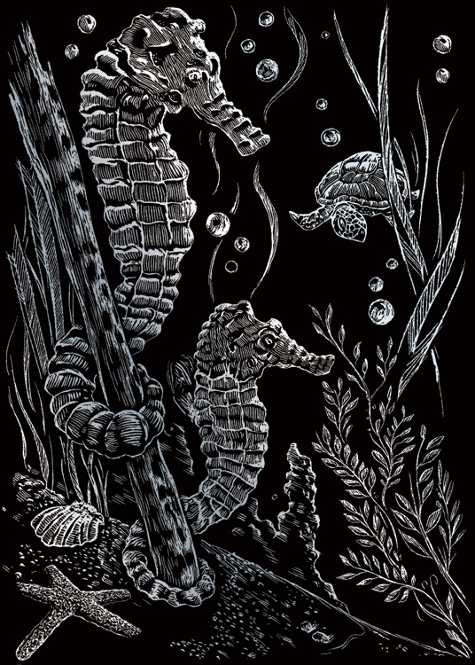 SEA HORSES SILVER MINI ENGRAVI