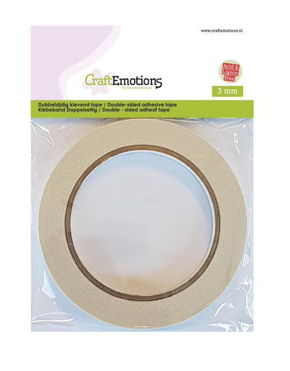 CraftEmotions Dubbelzijdig klevend tape 3 mm 20 MT 1 RL 3.3193