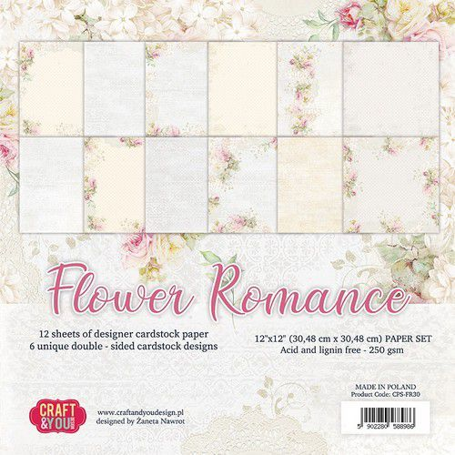 Craft&You Flower Romance Big Paper Set 12x12 12 vel CPS-FR30 (02-21)