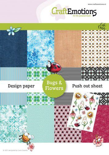 CraftEmotions Design Paper Bugs & flowers 12 vel + push out vel - A5 12+1 (03-21)