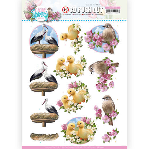 3D Push Out - Amy Design - Enjoy Spring - Birds
