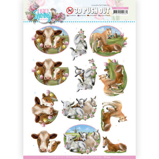 3D Push Out - Amy Design - Enjoy Spring - Farm Animals